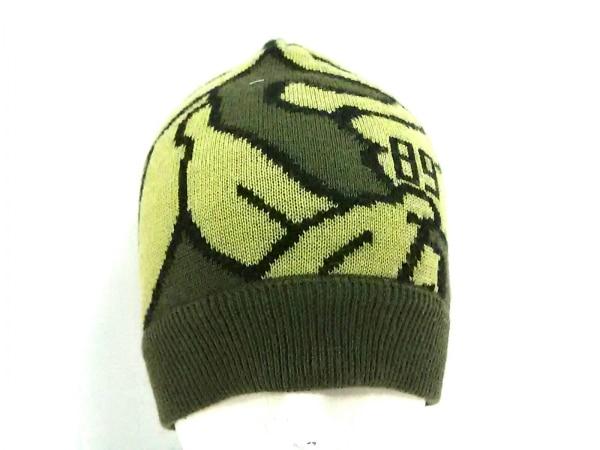 パーリーゲイツ ニット帽 カーキ×ライトグリーン バナナ 化学繊維×ウール