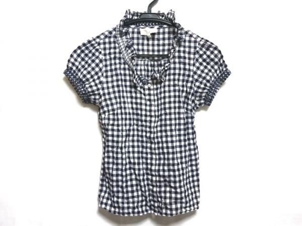 アニエスベー 半袖カットソー サイズ38 M レディース美品  ネイビー×白 チェック柄