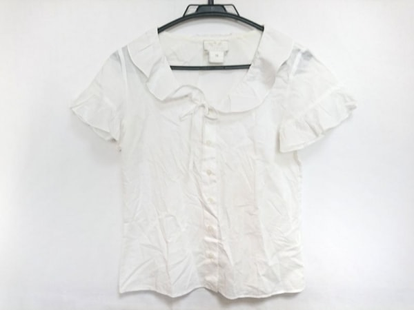 agnes b(アニエスベー) 半袖カットソー サイズ36 S レディース 白 シースルー