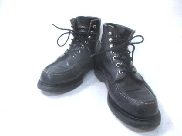 レッドウイング ショートブーツ 7 1/2 E メンズ スーパーソール モックトゥ 8133 黒