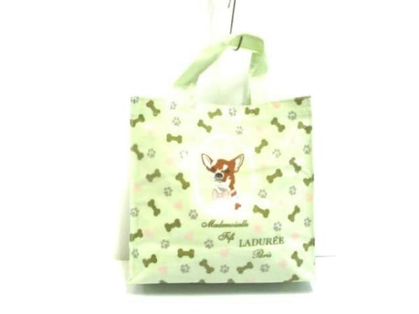 LADUREE(ラデュレ) トートバッグ ライトグリーン×ダークブラウン×マルチ