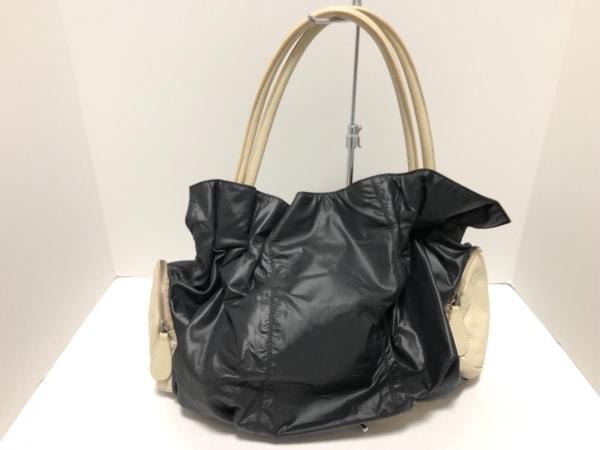 JACONO(ヤコノ) トートバッグ 黒×ベージュ 化学繊維×レザー