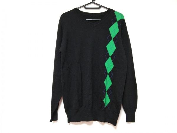 ソフネット 長袖セーター サイズM メンズ 黒×グリーン×ブルー アーガイル柄