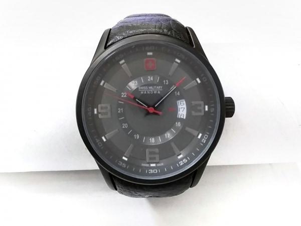 スイスミリタリー 腕時計 HANOWA 12496J メンズ 革ベルト ダークグレー
