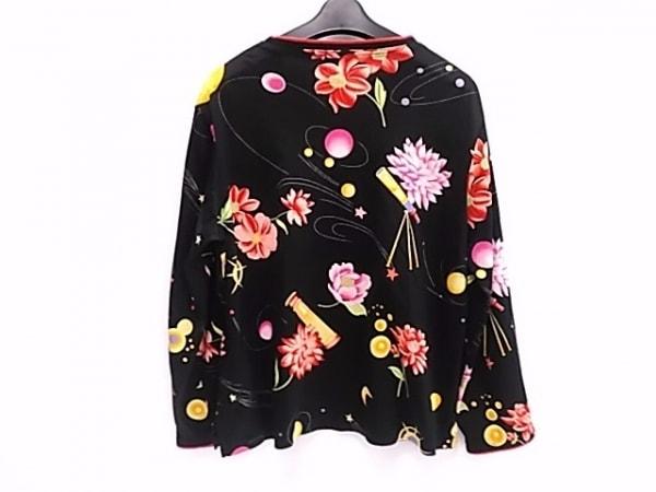 レオナール 長袖カットソー サイズLL レディース 黒×ピンク×マルチ SPORT/花柄
