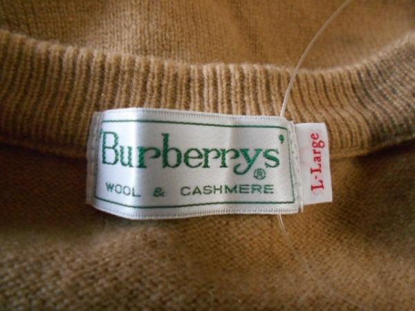 バーバリーズ 長袖セーター サイズL レディース ベージュ×黒×マルチ チェック柄