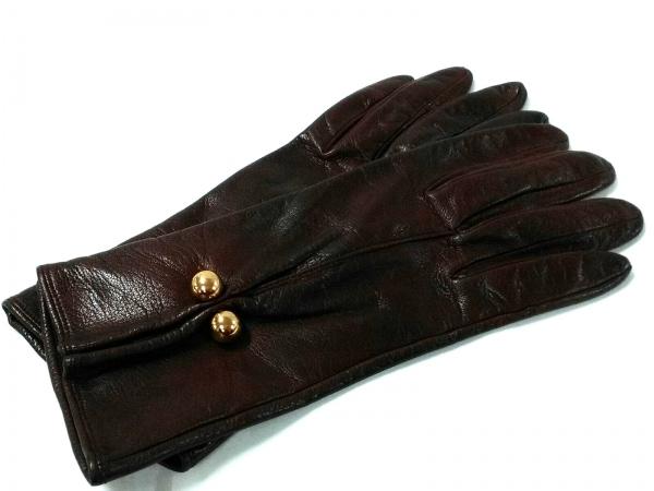 PalomaPicasso(パロマピカソ) 手袋 レディース ボルドー×ゴールド レザー×金属素材