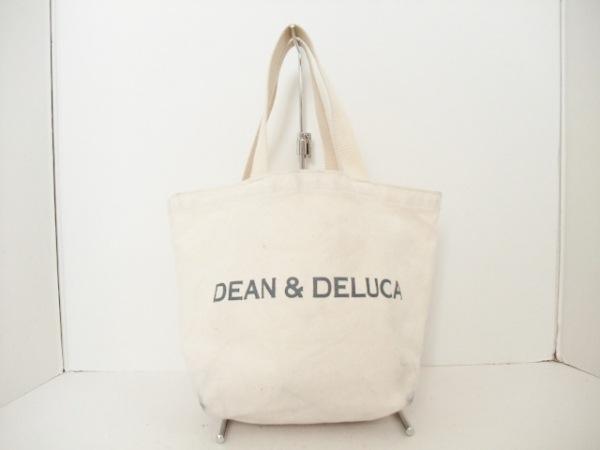 DEAN&DELUCA(ディーンアンドデルーカ) トートバッグ アイボリー×グレー キャンバス