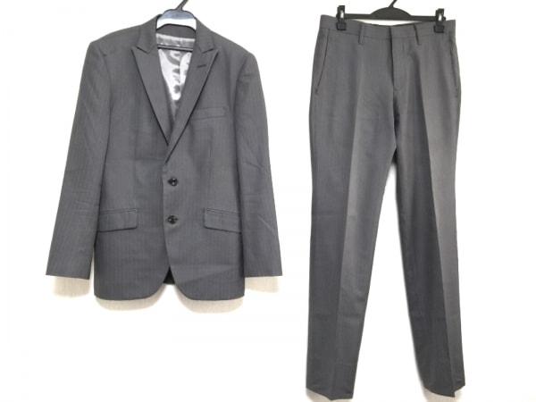 NICOLE(ニコル) シングルスーツ サイズ46 XL メンズ グレー 3点セット/ストライプ