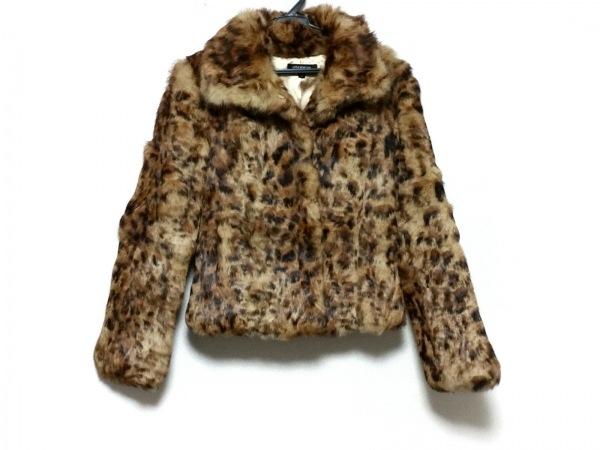 リトルニューヨーク コート サイズ4 XL レディース美品  ブラウン×黒×マルチ