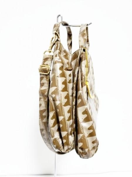 マダムヒロコ ハンドバッグ グレー×ダークブラウン 馬柄 PVC(塩化ビニール)