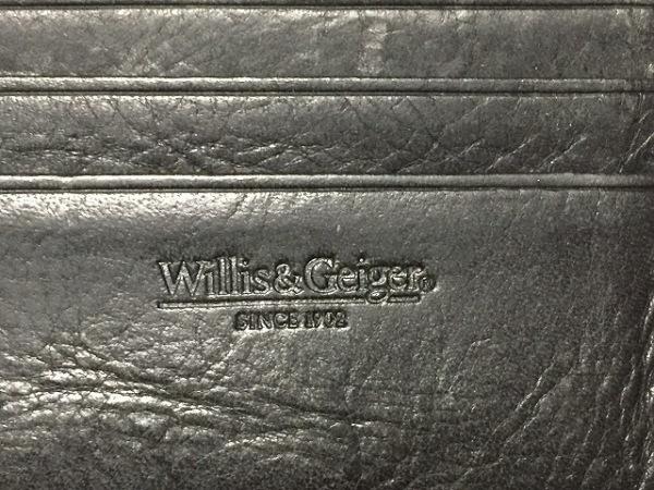 WILLIS&GEIGER(ウィリス&ガイガー) 2つ折り財布 黒 レザー