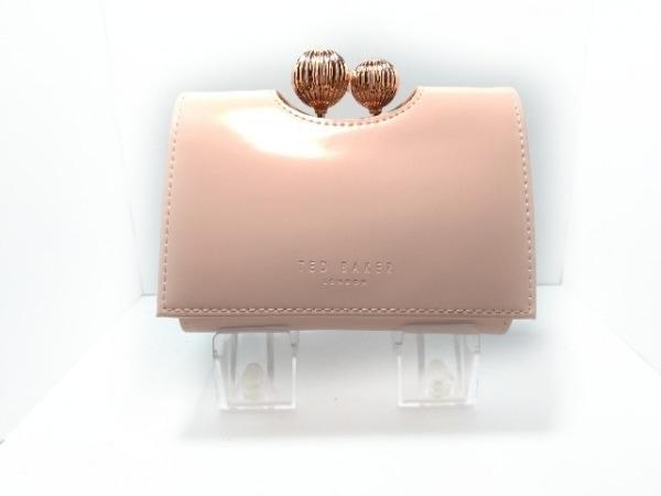 TED BAKER(テッドベイカー) 3つ折り財布美品  ピンク×ピンクゴールド がま口 レザー