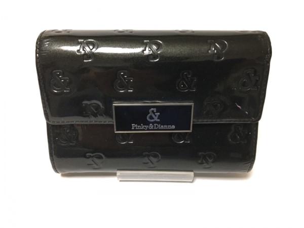Pinky&Dianne(ピンキー&ダイアン) 2つ折り財布美品  黒 型押し加工 エナメル(合皮)