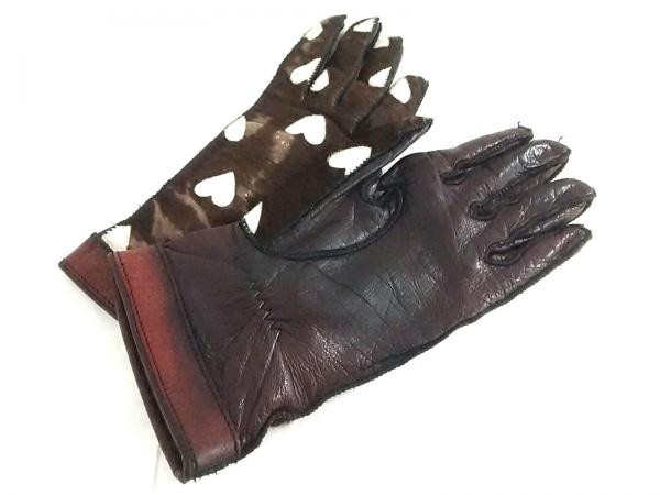 バーバリープローサム 手袋 レディース ダークブラウン×アイボリー×ボルドー ハート