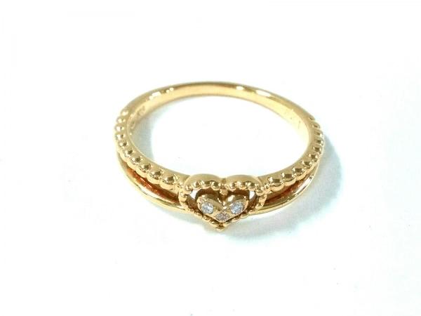 スタージュエリー リング美品  K18YG×ダイヤモンド ハート/3Pダイヤ/0.01カラット