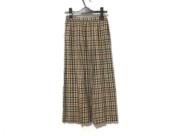 ダックス ロングスカート サイズ64-91 レディース ベージュ×黒×マルチ チェック柄