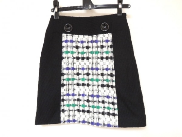 MILLY(ミリー) スカート サイズ2 S レディース美品  黒×白×マルチ チェック柄