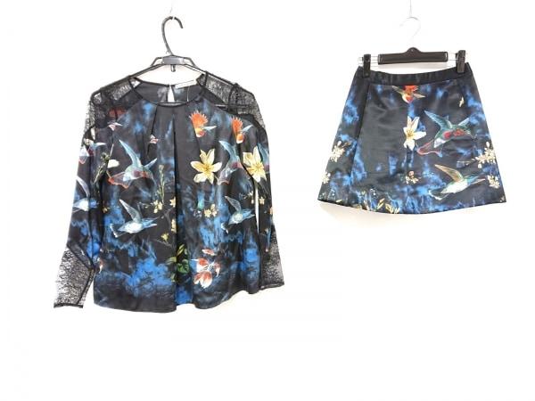 アリスオリビア スカートセットアップ レディース 黒×ブルー×マルチ 花柄/レース