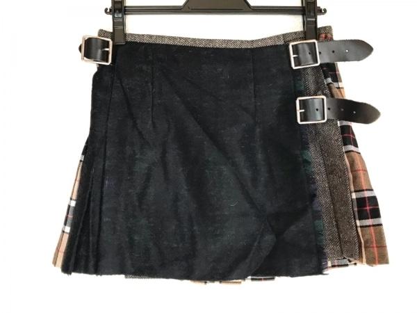 O'NEIL(オニール) 巻きスカート レディース 黒×ライトブラウン×レッド×マルチ