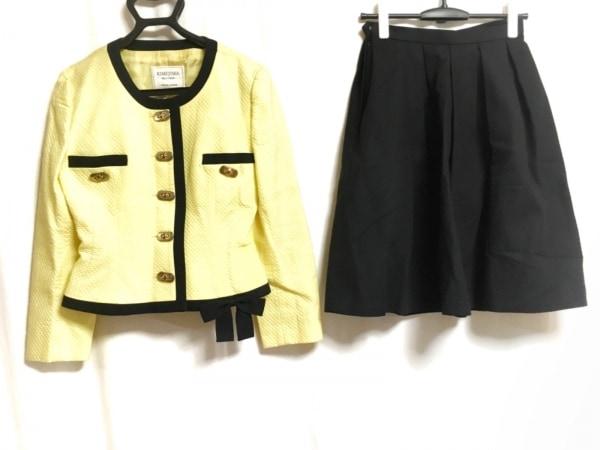 キミジマ スカートスーツ サイズ9 M レディース イエロー×黒 BOUTIQUE/ノーカラー