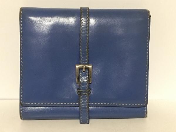 PRADA(プラダ) 3つ折り財布 - ブルー レザー