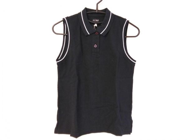 アルマーニジーンズ ノースリーブポロシャツ サイズ38 S レディース美品  黒×白