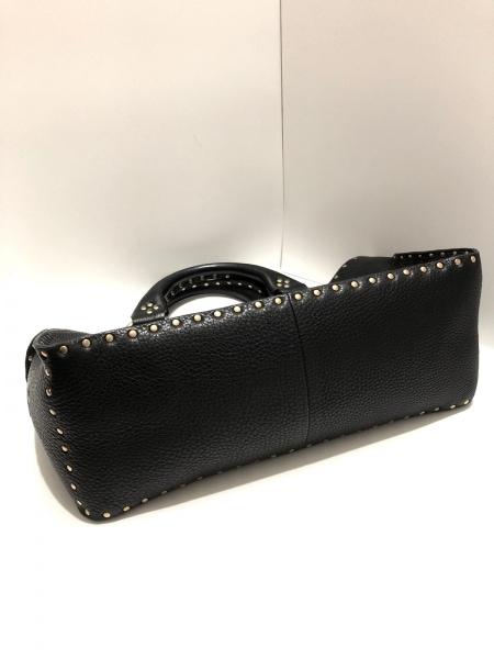 セリーヌ ハンドバッグ ブギーバッグ 黒×ゴールド スタッズ レザー×金属素材