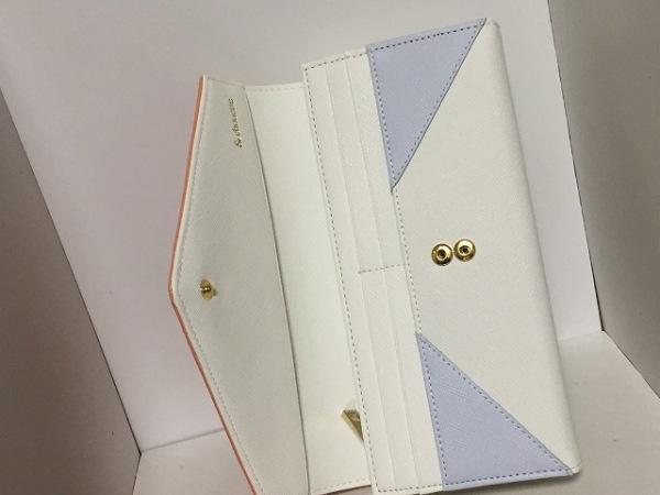 &chouette(アンドシュエット) 長財布新品同様  白×ライトブルー×ピンク 合皮