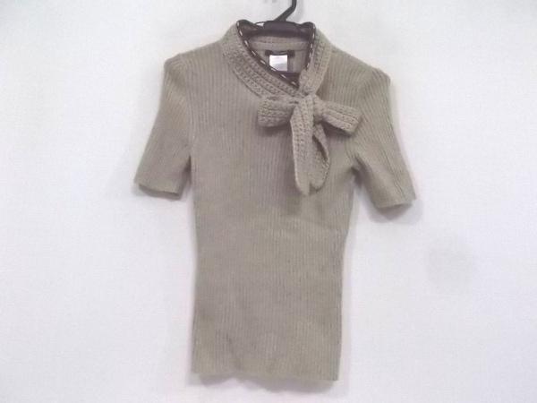 ペゴレール 半袖セーター サイズ42 L レディース新品同様  ベージュ×ダークブラウン
