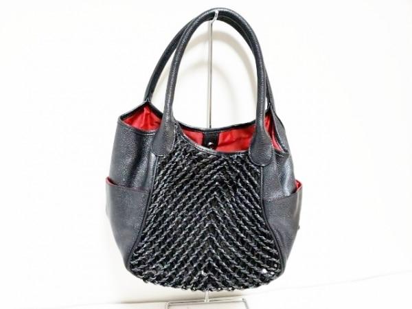 ラメットベリー トートバッグ 黒 編みこみ/スパンコール/ラメ 合皮×化学繊維