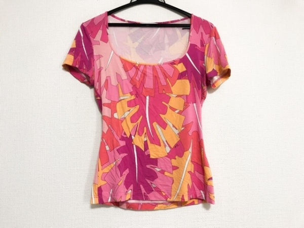 エミリオプッチ 半袖カットソー サイズM レディース美品  ピンク×オレンジ×マルチ