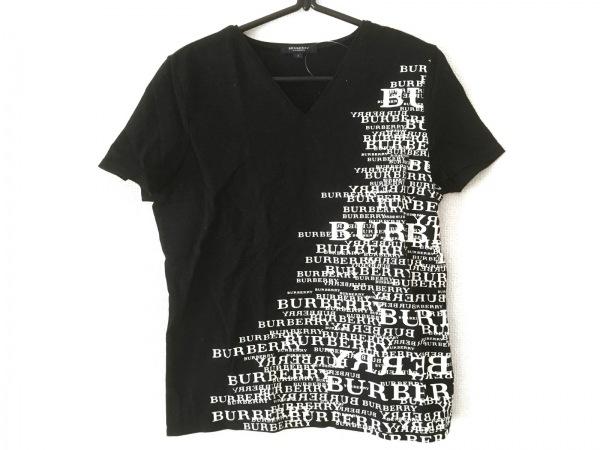 バーバリーロンドン 半袖Tシャツ サイズ2 M レディース 黒×白 Vネック