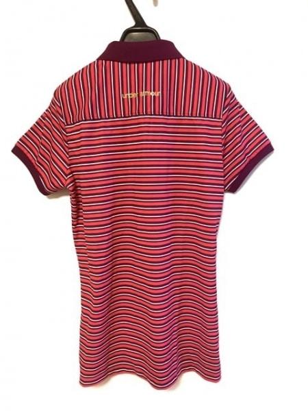 アンダーアーマー 半袖ポロシャツ レディース ピンク×パープル×白 ボーダー