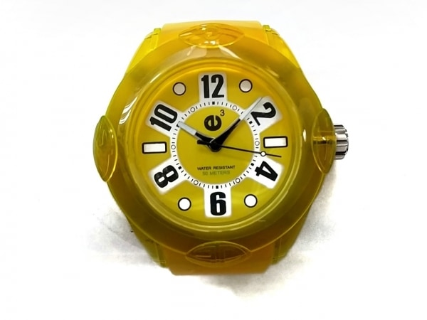 テンデンス 腕時計美品  02013043 ボーイズ ラバーベルト イエロー×シルバー