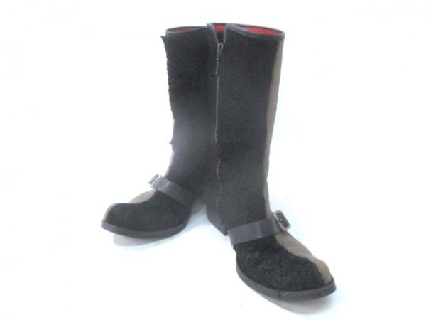 オゾン・ロックス ブーツ 3 1/2  レディース カーキ×黒 レザー×天然繊維