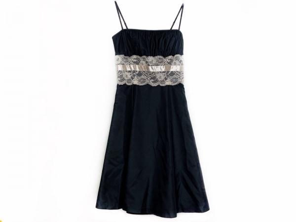 ラデファンス ドレス サイズ9 M レディース美品  ダークネイビー×ベージュ レース