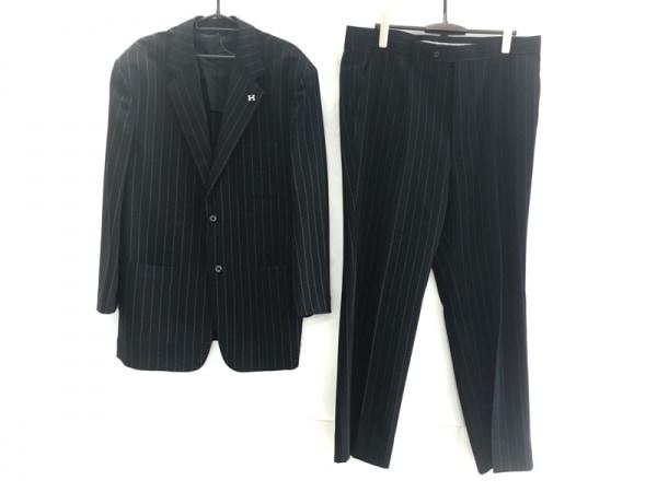 ハーディエイミス シングルスーツ サイズLL メンズ 黒×白 ストライプ