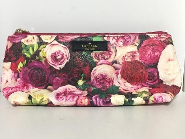 ケイトスペード ペンケース WLRU2204 ピンク×アイボリー×マルチ 花柄 レザー