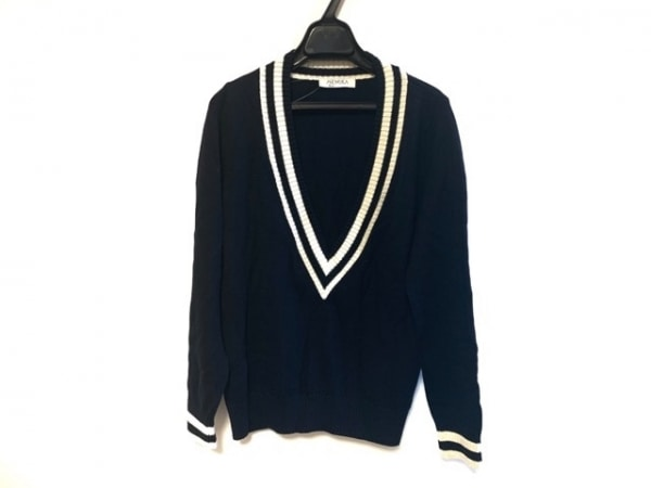 Leilian(レリアン) 長袖セーター サイズ11 M レディース美品  ダークネイビー×白