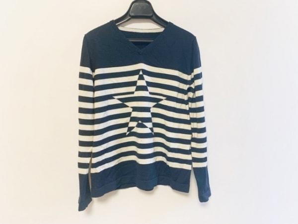 Leilian(レリアン) 長袖セーター サイズ9 M レディース ダークネイビー×白 スター