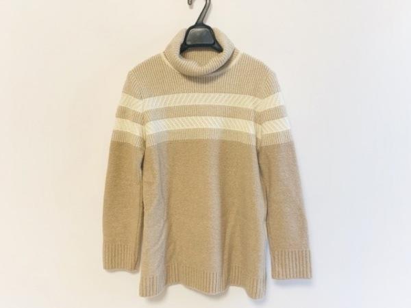 ロシャス 長袖セーター サイズ9 M レディース ベージュ×アイボリー タートルネック