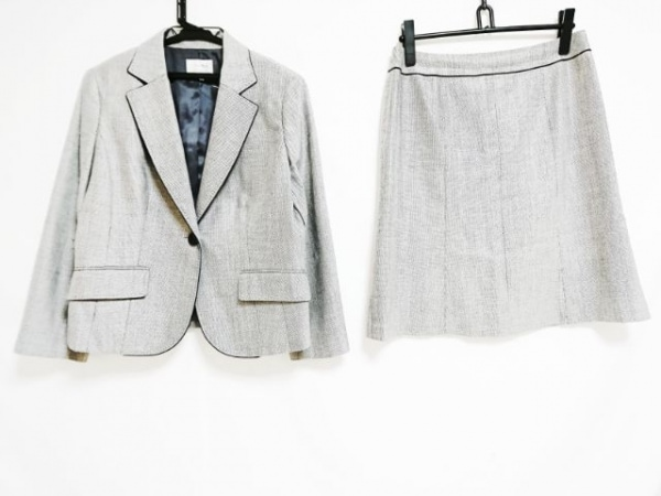 TRANS WORK(トランスワーク) スカートスーツ レディース 白×黒×マルチ