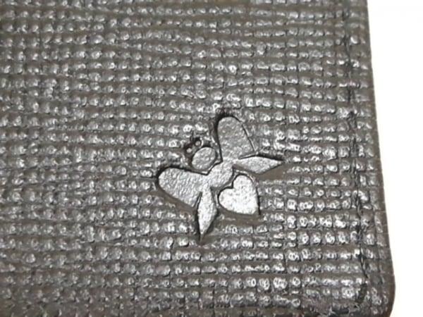 ジャストハート 3つ折り財布 アイボリー×黒×ピンク ラインストーン/がま口