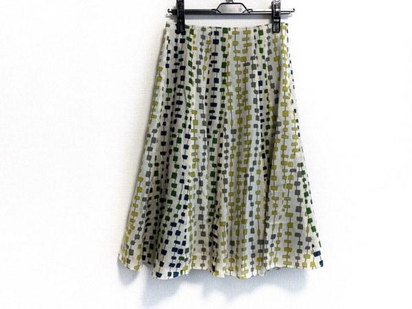 ホコモモラ スカート サイズ40 XL レディース美品  アイボリー×ネイビー×マルチ