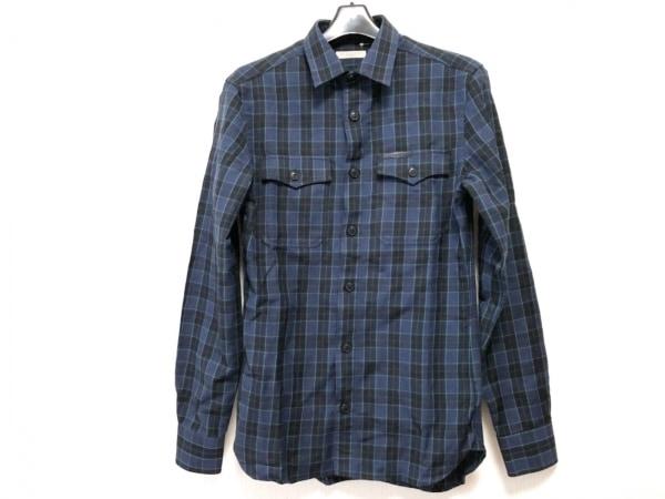 バーバリーブリット 長袖シャツ サイズXS メンズ ネイビー×黒×グリーン チェック柄