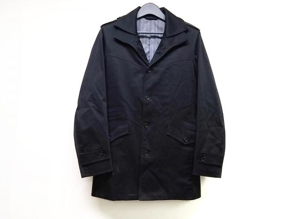 SCOOP MAN(スクープマン) コート サイズL メンズ 黒 ストライプ/春・秋物