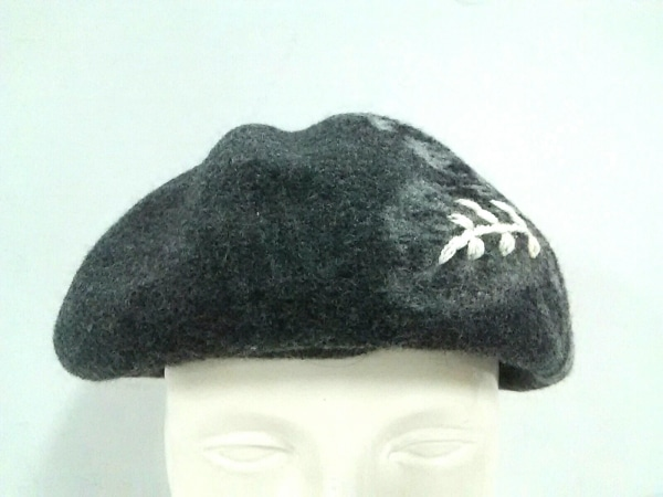 KENZO(ケンゾー) 帽子 M美品  ダークグレー×白×レッド 刺繍/フラワー ウール