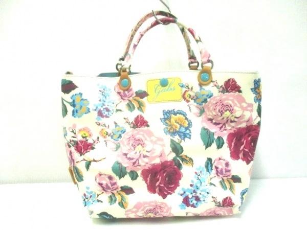 ガブス トートバッグ美品  白×ピンク×ライトブルー×マルチ 花柄 PVC(塩化ビニール)