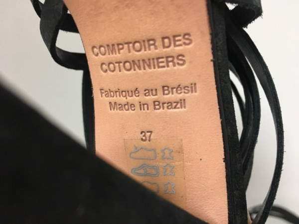 コントワーデコトニエ サンダル 37 レディース 黒 アウトソール張替済 レザー